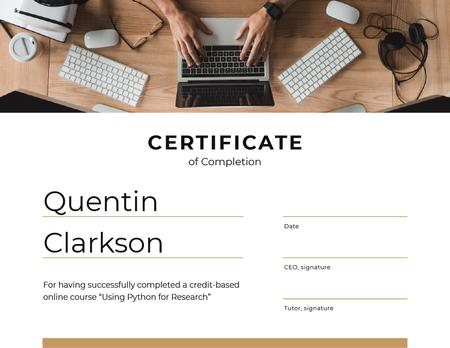 IT online course Completion with Man by Laptop Certificate Design Template