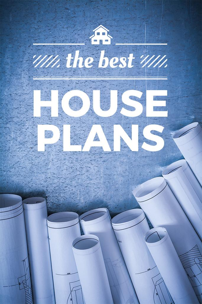 Best house plans banner with blueprints  — Створити дизайн