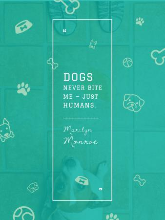 Dogs Quote with cute Puppy Poster US – шаблон для дизайна