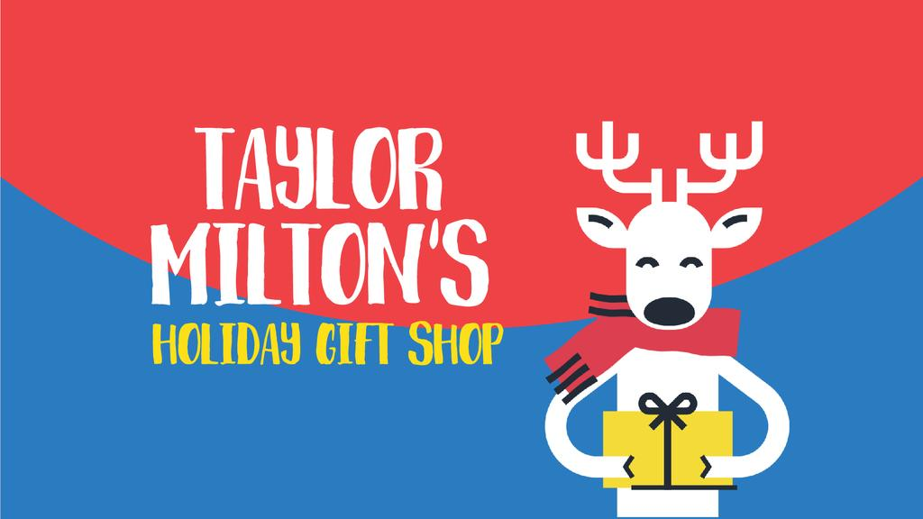 Christmas Offer Deer with Gift in Hands — Modelo de projeto