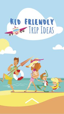 Parents with Kids travelling to sea Instagram Story Modelo de Design
