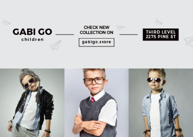 Children clothing store Ad with Stylish Kids Card Modelo de Design