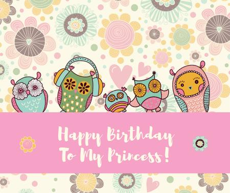 Birthday Invitation with Party Owls Facebook Tasarım Şablonu