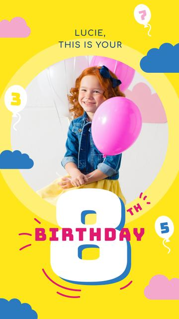 Ontwerpsjabloon van Instagram Story van Little Girl with Birthday balloons