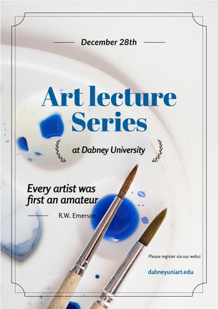 Art Lecture Series Brushes and Palette in Blue Poster Modelo de Design