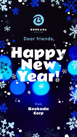 Template di design New Year Greeting Snowflakes and Bokeh in Blue Instagram Story