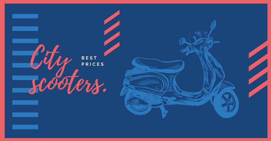 Sale Offer Blue Retro Scooter | Facebook AD Template — Modelo de projeto