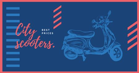Template di design Sale Offer Blue Retro Scooter Facebook AD