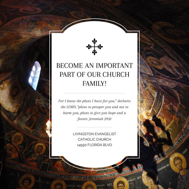 Church Invitation Old Cathedral View Instagram AD – шаблон для дизайна