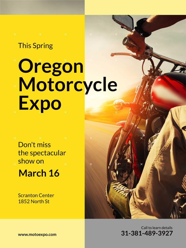 Motorcycle Exhibition Man Riding Bike on Road Poster US – шаблон для дизайну