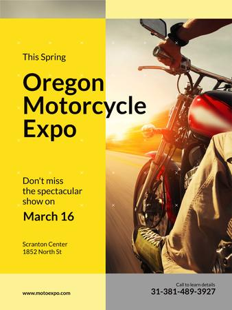 Motorcycle Exhibition Man Riding Bike on Road Poster US – шаблон для дизайну
