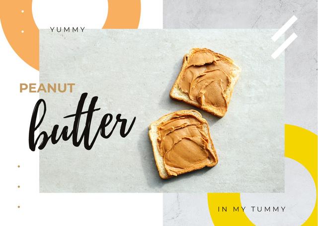 Toasts with peanut butter Postcard Tasarım Şablonu