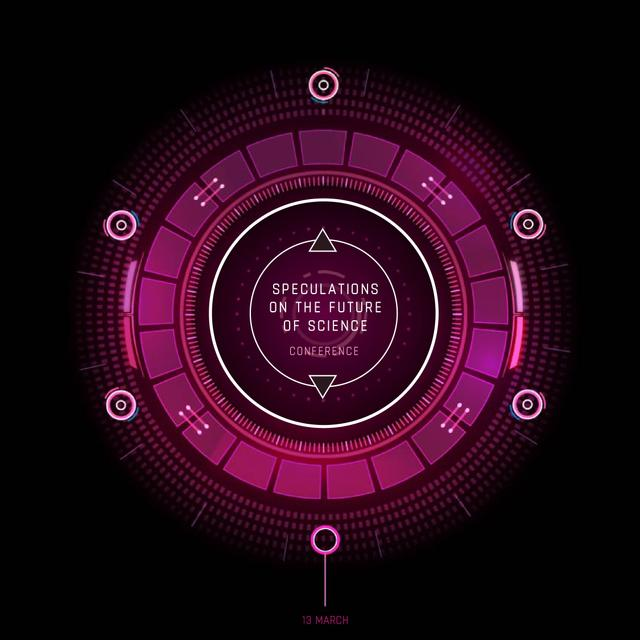Glowing Pink cyber circle Animated Post Tasarım Şablonu