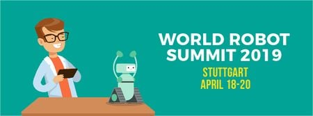 Man programming robot at science summit Facebook Video cover Modelo de Design