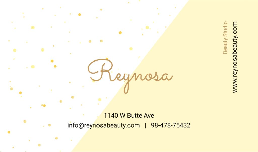 Beauty Studio Contacts Simple Pattern in Yellow | Business Card Template — Створити дизайн