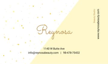 Beauty Studio Contacts Simple Pattern in Yellow | Business Card Template