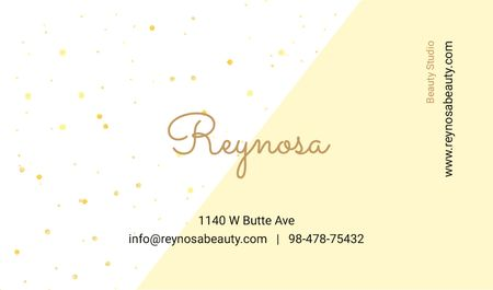 Beauty Studio Contacts with Simple Pattern in Yellow Business card Tasarım Şablonu
