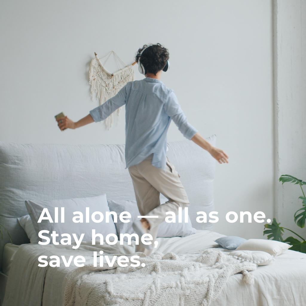 Woman having fun home alone - Bir Tasarım Oluşturun