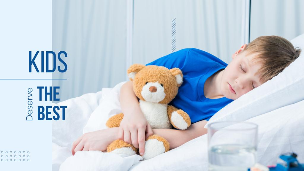 Child with teddy bear in hospital — Создать дизайн