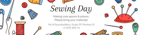Plantilla de diseño de Sewing day event Announcement Twitter