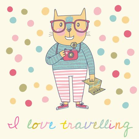 Motivational Travelling Quote with Cute Cat Instagram Modelo de Design
