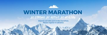Winter Marathon Announcement Snowy Mountains | Email Header Template