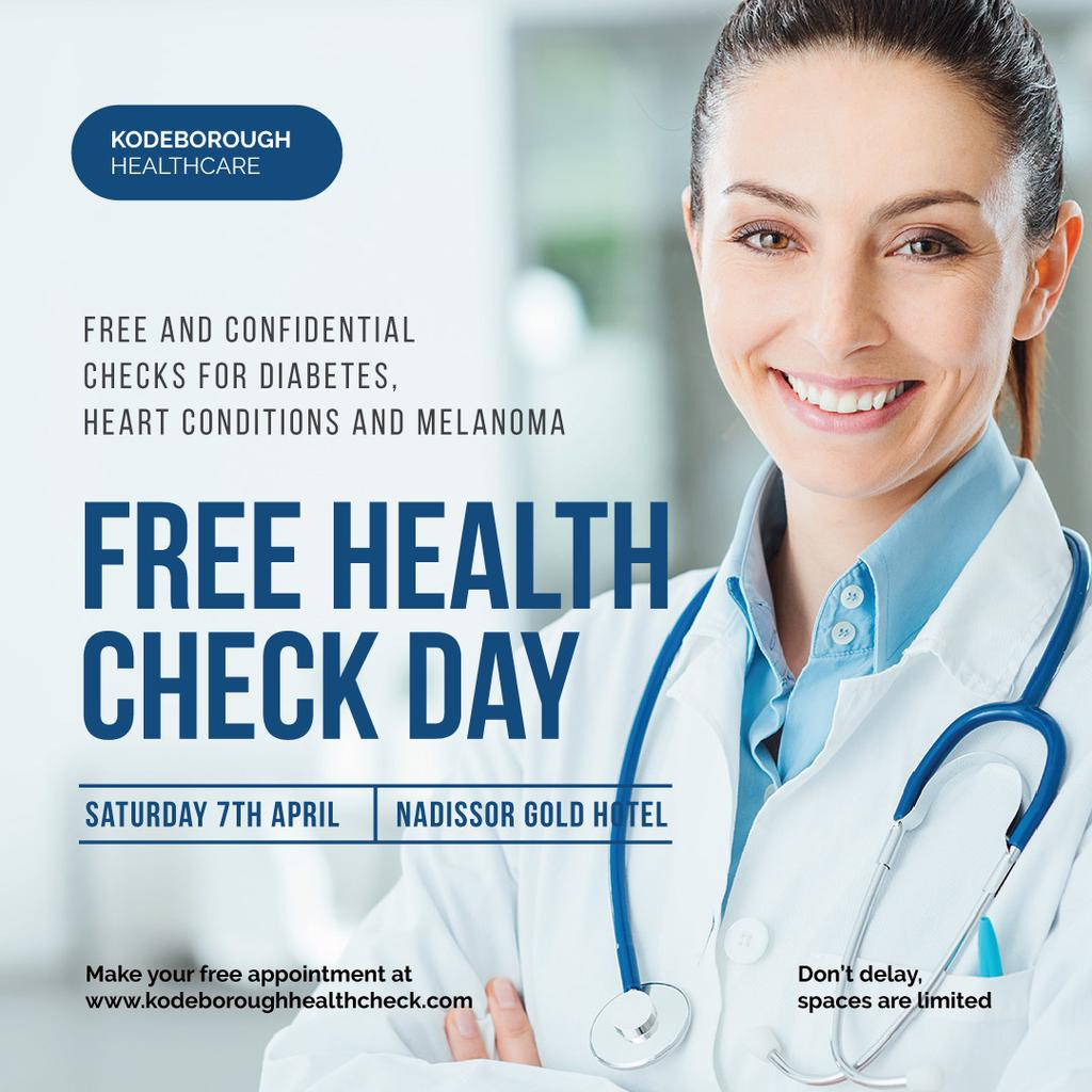 Free health Check Day Ad with Smiling Doctor — Crear un diseño
