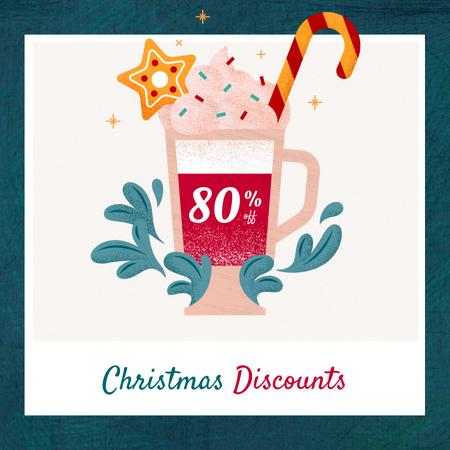 Christmas Offer Cocoa with Candy Cane Instagram – шаблон для дизайну
