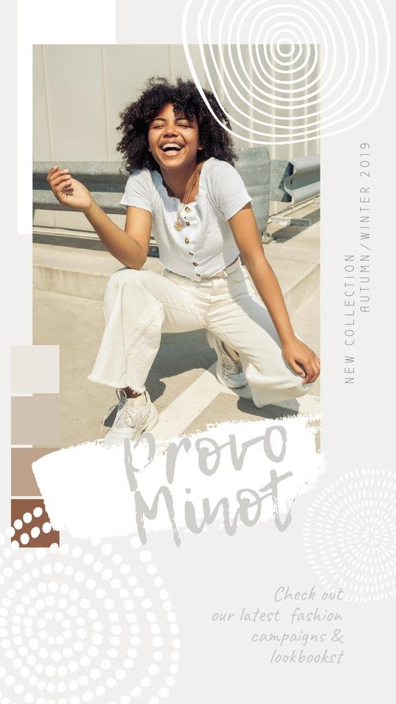 Fashion Offer Happy African American Girl in White — Modelo de projeto
