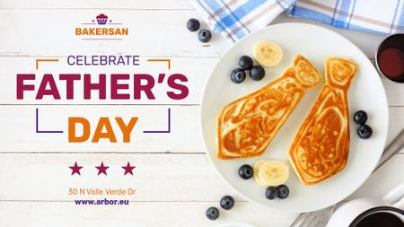 Plantilla de diseño de Father's Day Invitation Tie Shaped Pancakes FB event cover
