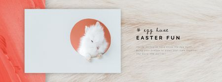 Plantilla de diseño de Cute Easter bunny in frame Facebook Video cover