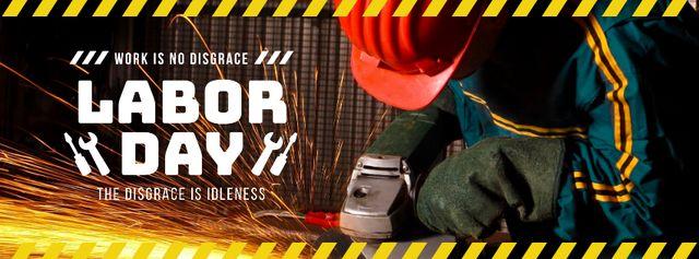 Szablon projektu Labor Day with Worker holding grinder Facebook cover