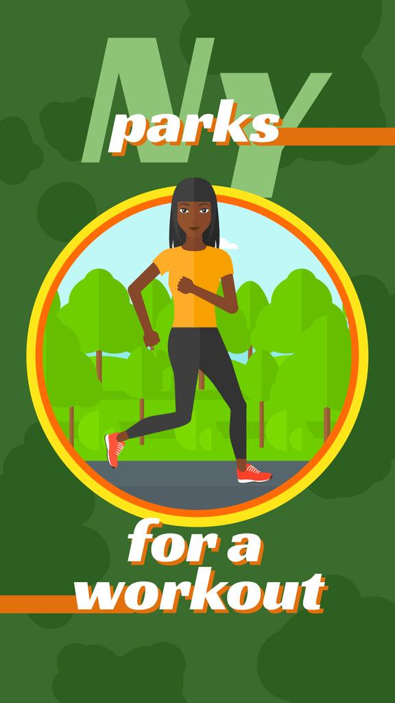 Woman running in park — Maak een ontwerp