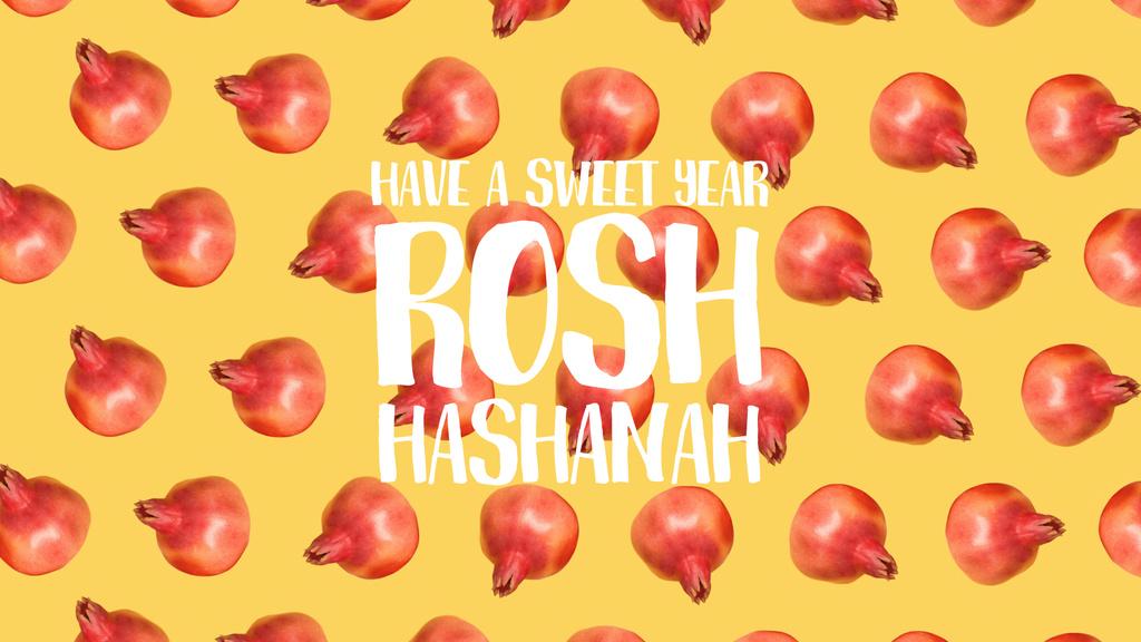Rosh Hashanah template with rotating pomegranates — Modelo de projeto