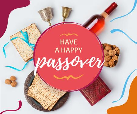 Happy Passover festive dinner Facebook Modelo de Design
