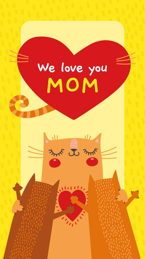 Cat hugging its kittens on Mother's Day — Create a Design