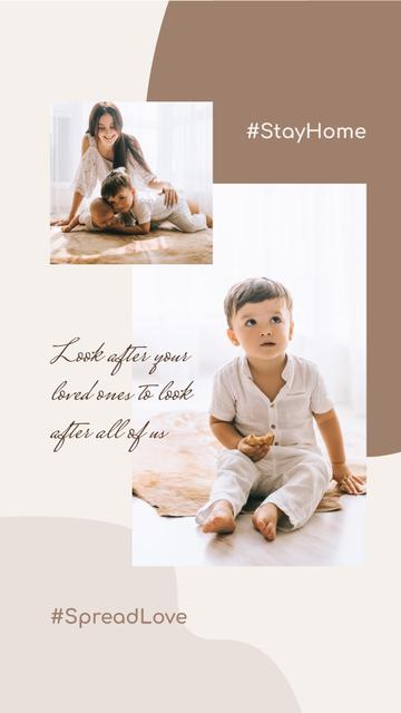 Plantilla de diseño de #SpreadLove Mother spending time with Child Instagram Story