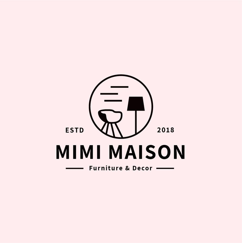 Furniture Studio Cozy Interior in Pink | Logo Template — Créer un visuel