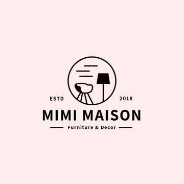 Furniture Studio Cozy Interior in Pink | Logo Template