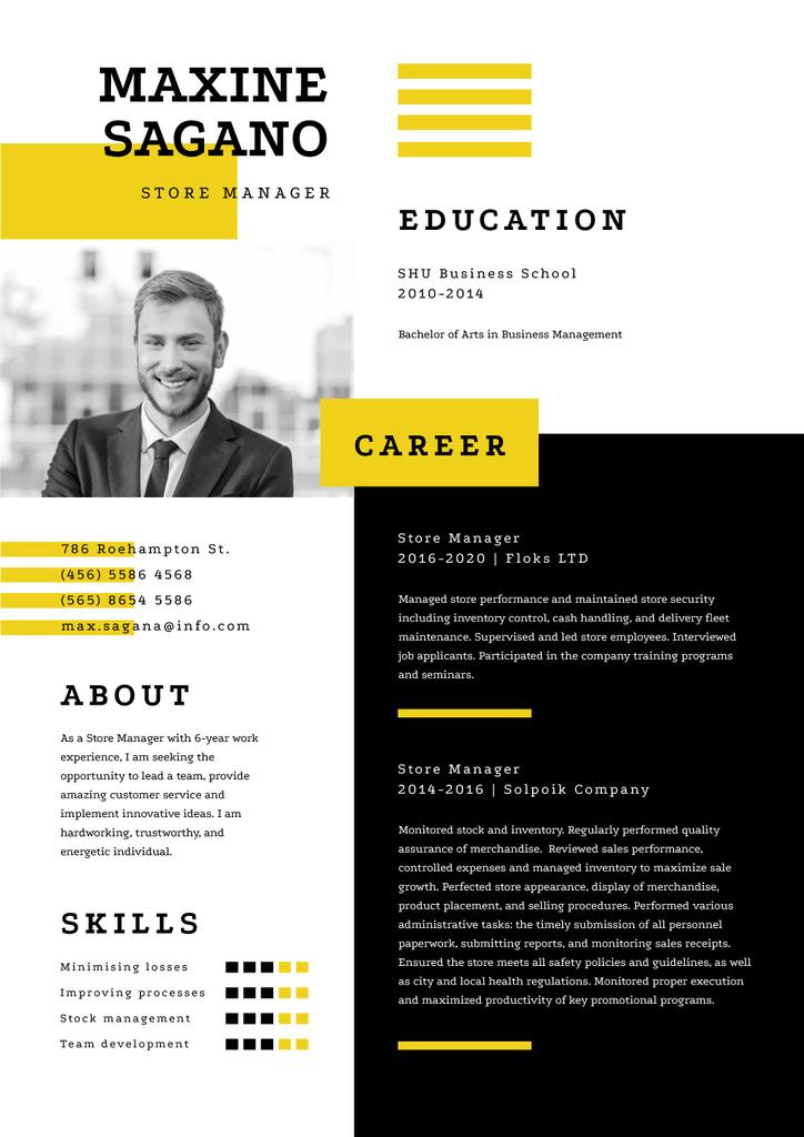 Store manager skills and experience — Создать дизайн