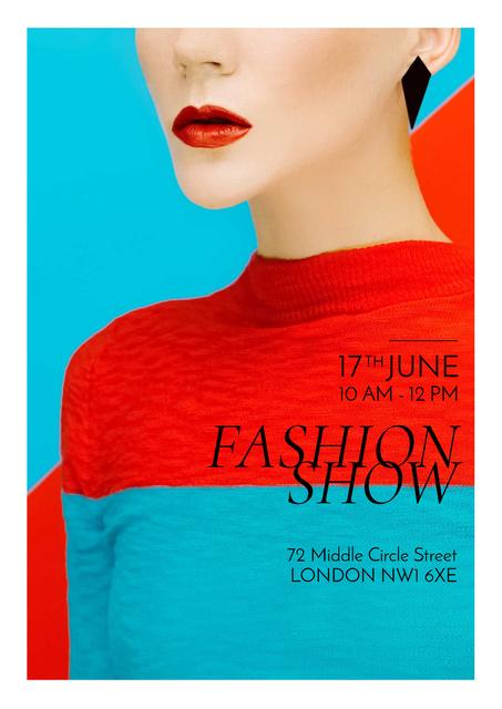 Ontwerpsjabloon van Poster van Fashion show Advertisement with Stylish Woman
