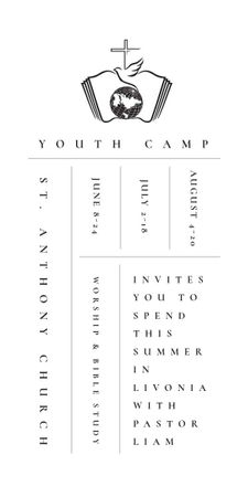 Ontwerpsjabloon van Graphic van Youth religion camp Promotion in white