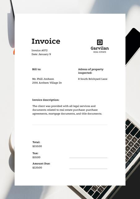 Real Estate Services with Laptop Invoice – шаблон для дизайна