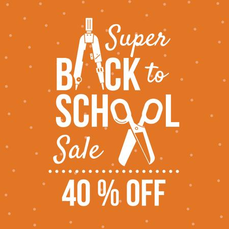 Back to School sale with stationery Instagram AD – шаблон для дизайну