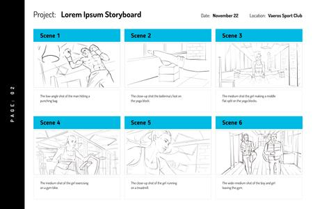 People exercising in Gym Storyboard Modelo de Design