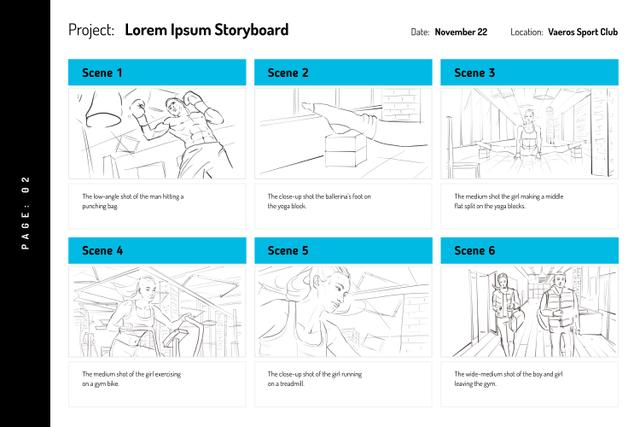 People exercising in Gym Storyboard Design Template
