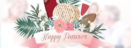 Happy Passover festive dinner Facebook Video cover Modelo de Design
