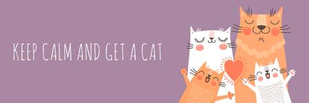 Keep calm and get a cat poster Twitter Design Template