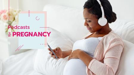 Plantilla de diseño de Pregnant woman listening music on phone Presentation Wide