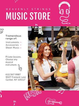 Music Store Ad Seller with Guitar Poster US Modelo de Design